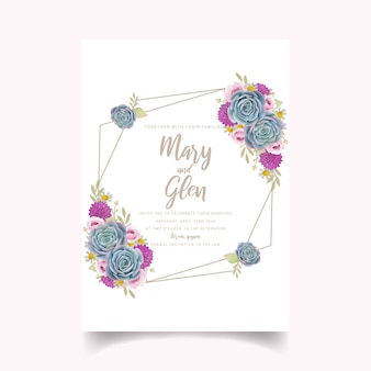Hochzeitseinladung mit blumenrosen und succulent