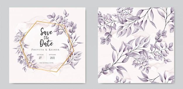 Hochzeitseinladung mit blumenverzierung und nahtloser mustersatzbündelsammlung