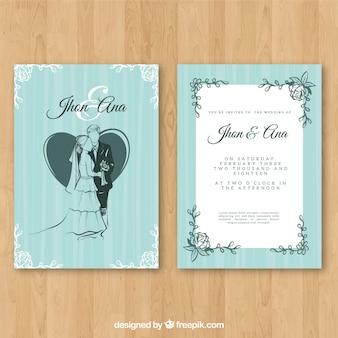 Hochzeitseinladung mit blumenverzierungen und paaren