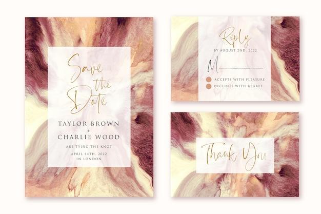 Hochzeitseinladung mit braunem cremefarbenem abstraktem aquarellentwurf