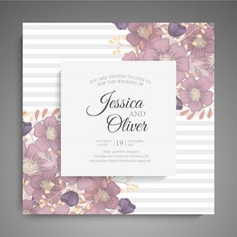 Hochzeitseinladung mit bunter blume