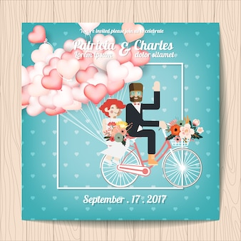 Hochzeitseinladung mit charakteren in einem fahrrad