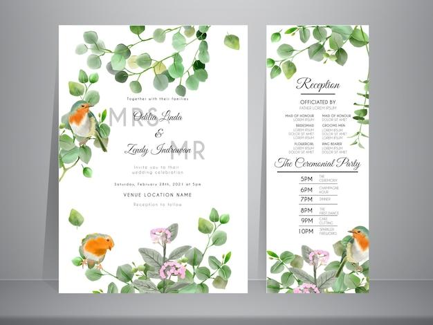 Hochzeitseinladung mit der schönen hand gezeichneten eukalyptus- und vogelillustration