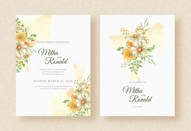 Hochzeitseinladung mit ecke des blumenstraußes blüht orange spritzer-aquarellhintergrund