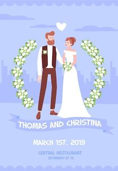 Hochzeitseinladung mit ein paar jungvermählten mit signierten namen, datum und adresse