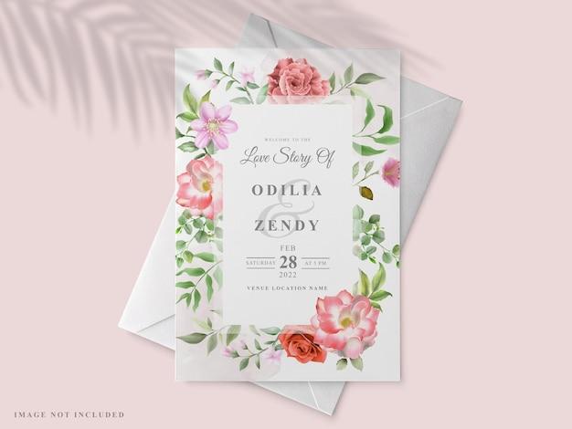Hochzeitseinladung mit einem roten rosenmalthema