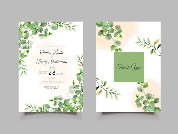 Hochzeitseinladung mit eleganter und grüner hand gezeichneter eukalyptusschablone