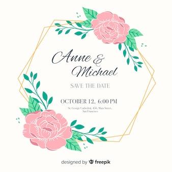 Hochzeitseinladung mit floralen rahmen