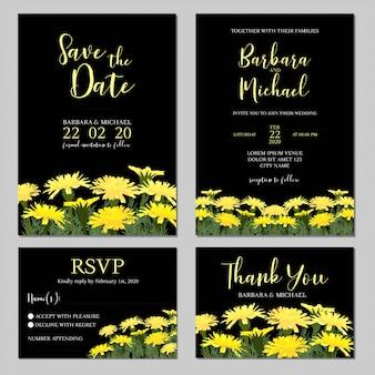 Hochzeitseinladung mit gelber wiesenblume