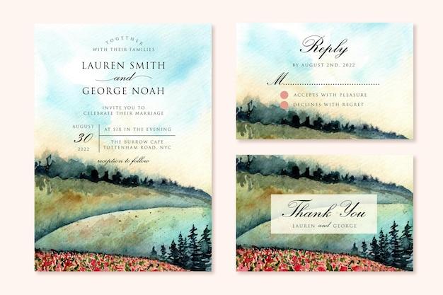 Hochzeitseinladung mit grünem hügel landschaft aquarell gesetzt