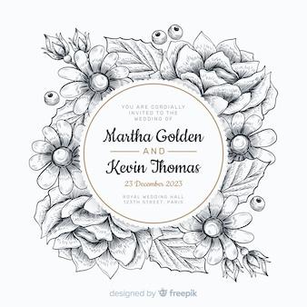 Hochzeitseinladung mit hand gezeichnetem blumenrahmen