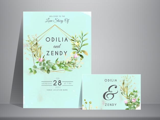 Hochzeitseinladung mit handgezeichneter grüner eukalyptusschablone
