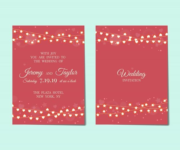 Hochzeitseinladung mit hellen girlanden