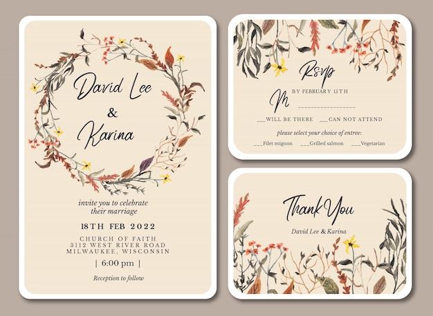 Hochzeitseinladung mit herbstblumenaquarell