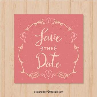 Hochzeitseinladung mit herzen und pfeilen