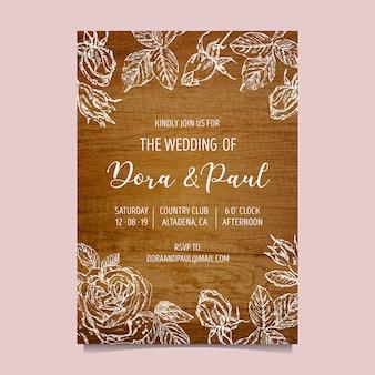 Hochzeitseinladung mit hölzernem hintergrund