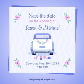 Hochzeitseinladung mit klassischem Auto und Blumen