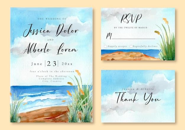 Hochzeitseinladung mit landschaft des blauen ozeans und des grünen grases Premium Vektoren