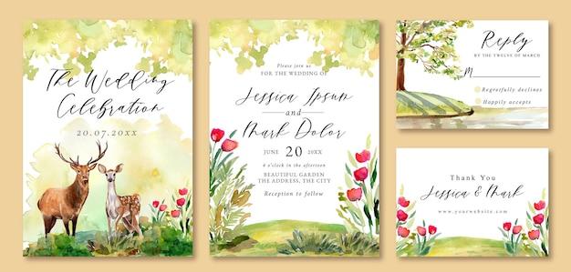 Hochzeitseinladung mit landschaft des romantischen hirsches im garten