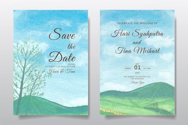 Hochzeitseinladung mit landschaftsblauem himmel und baumaquarellentwurf