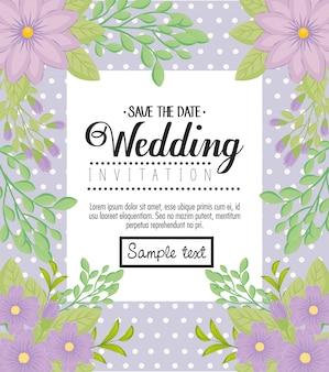 Hochzeitseinladung mit lila blumen und blättern