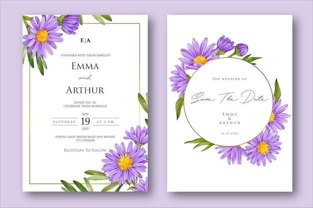 Hochzeitseinladung mit lila blumenaquarell