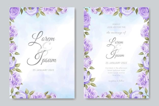 Hochzeitseinladung mit lila rosenschablone
