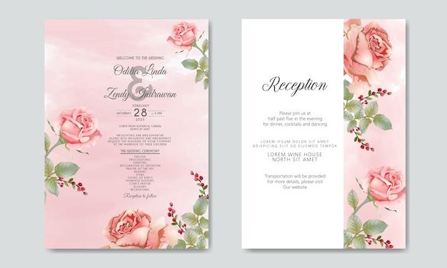 Hochzeitseinladung mit luxus und schönheit mit blumen