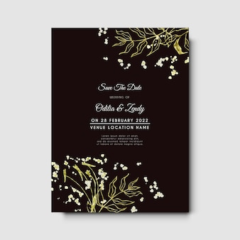 Hochzeitseinladung mit minimalistischer umrisshand gezeichnet