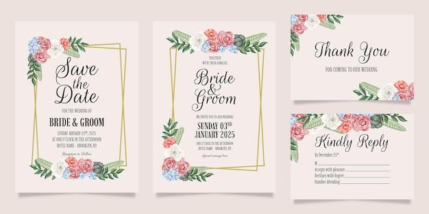 Hochzeitseinladung mit pfirsichaquarellblumendekorationsrahmen