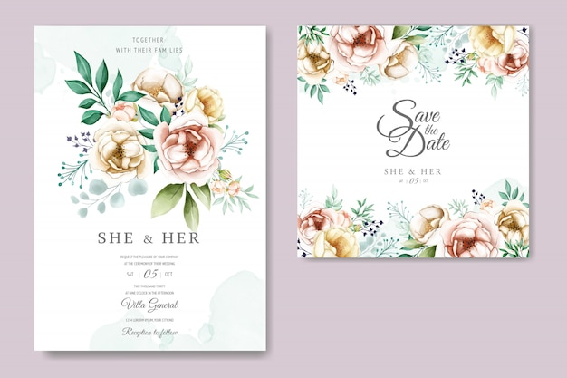 Hochzeitseinladung mit reizenden aquarellblumen