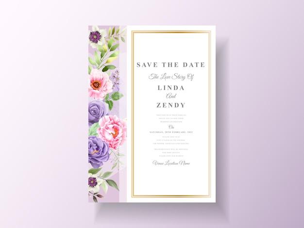 Hochzeitseinladung mit romantischem blumenaquarell