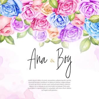 Hochzeitseinladung mit rosa blumen des aquarells