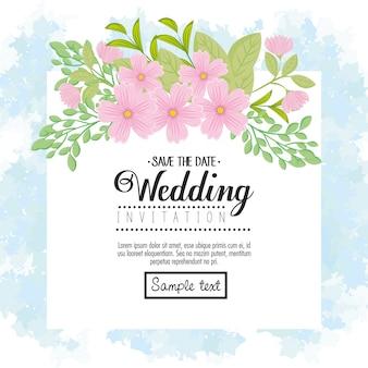 Hochzeitseinladung mit rosa blumen und blättern