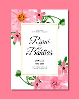 Hochzeitseinladung mit rosa blumenaquarell