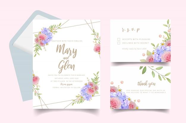 Hochzeitseinladung mit rosa blumenrosen und hortensie