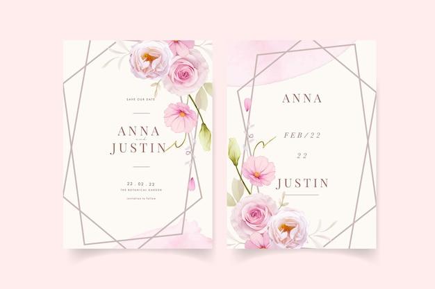 Hochzeitseinladung mit rosa rosen des aquarells
