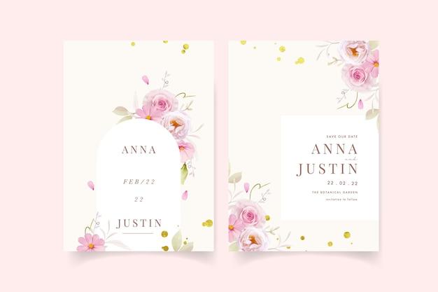 Hochzeitseinladung mit rosa rosen des aquarells Kostenlosen Vektoren