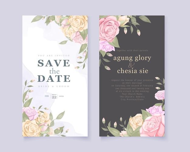 Hochzeitseinladung mit rosenstrauß eingestellt Premium Vektoren
