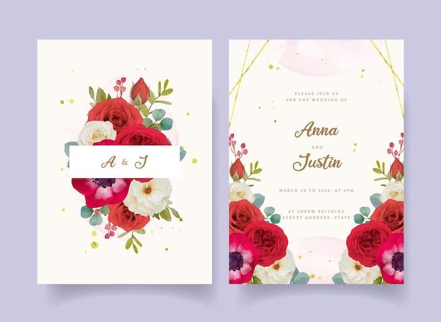 Hochzeitseinladung mit roten aquarellblumen