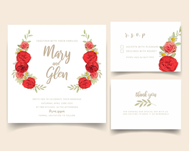 Hochzeitseinladung mit roten blumenrosen