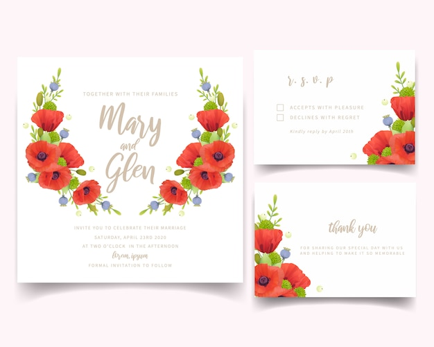 Hochzeitseinladung mit roten mohnblumenblumen