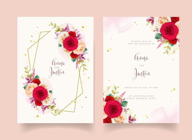 Hochzeitseinladung mit roten rosenblüten Premium Vektoren