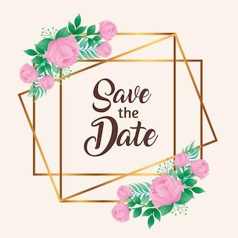 Hochzeitseinladung mit save the date-schriftzug und rosa blumen im goldenen quadratischen rahmenvektor