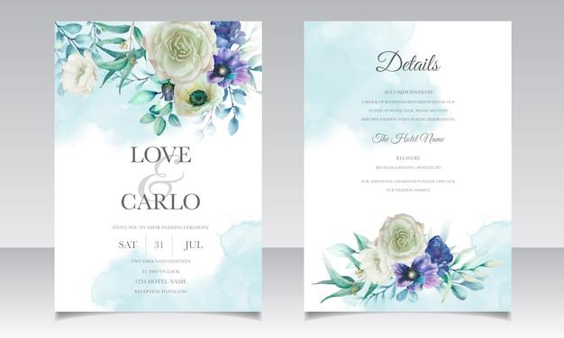 Hochzeitseinladung mit schönem blumen- und blattaquarell eingestellt