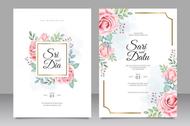 Hochzeitseinladung mit schönem blumenaquarell