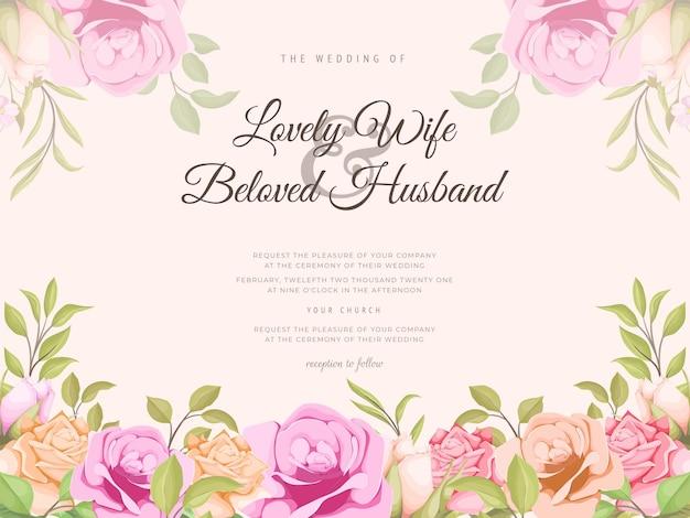 Hochzeitseinladung mit schönem blumenkonzept-schablonendesign
