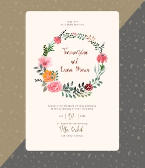 Hochzeitseinladung mit schönem blumenkranzaquarell