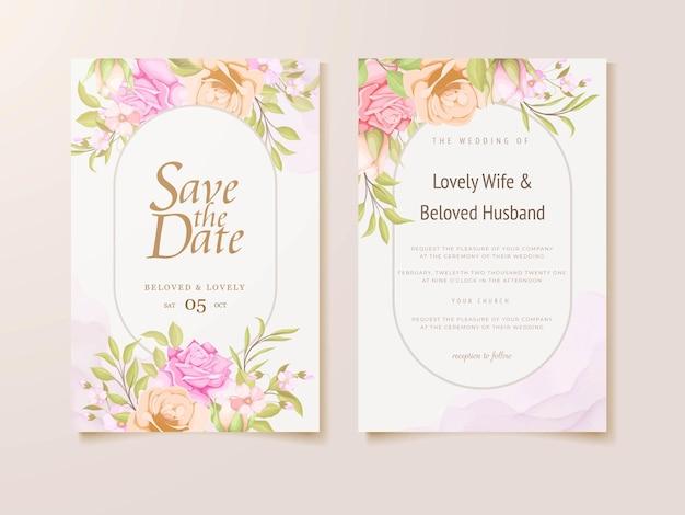 Hochzeitseinladung mit schönem blumenschablonendesign