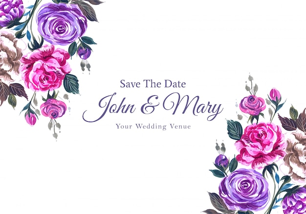 Hochzeitseinladung mit schönen aquarellblumen